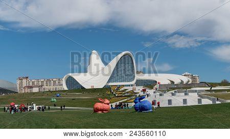 Colorful Rabbit Sculptures In Front Of Heydar Aliyev Centre, Baku, Azerbaijan