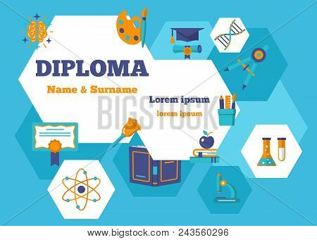 Diploma Horizontal Poster. Certificate Design With Place For Text For Graduate Name Surname Date And