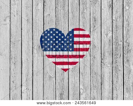 American Flag Heart Shaped, Painted By The Stencil On The Wooden Planks Background, Usa Flag Symboli