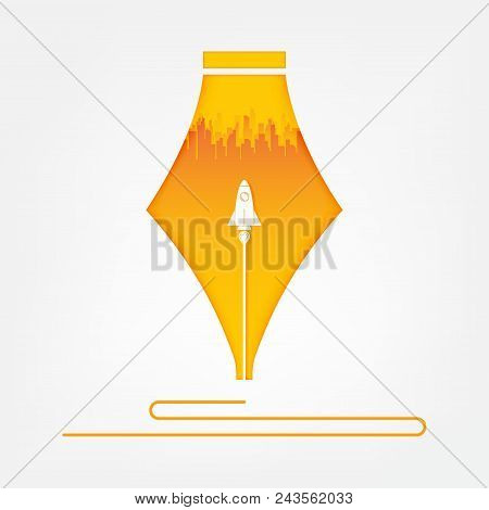 Start Up Rocket In Pen. Start Up Business Concept And Creative Idea, Vector Art And Illustration.