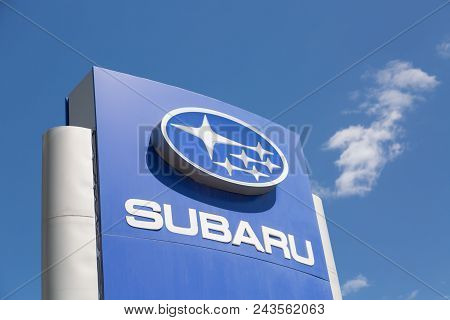 Moscow, Russia - May, 2018: Subaru Automobile Dealership Sign Against Blue Sky. Subaru Is A Japanese