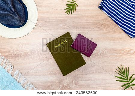 Top View Of Vacation Accessories With Passport, Copy Space And Summer Beach Items. Lay Flat Fashion