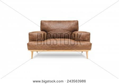 Leather brown chair on white background, including clipping path