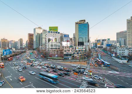 Seoul City Traffic Street Near Seoul Station In Seoul, South Korea