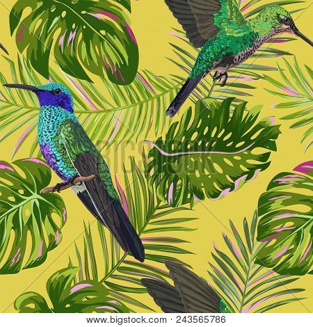 Floral Tropical Seamless Pattern With Humming Bird. Birds And Palm Leaves Background For Fabric, Wal