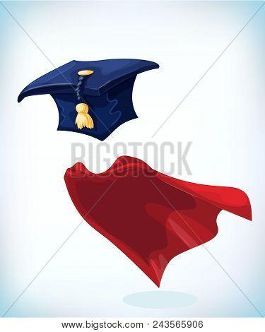 College Alumni Hat. Graduation Cap With Gold Tassel. Masquerade Costume Headdress. Carnival Or Hallo