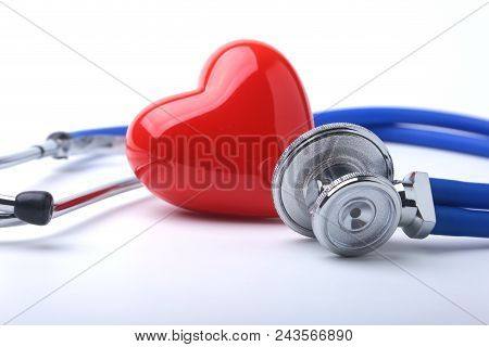 Medical Stethoscope And Red Heart Isolated On White