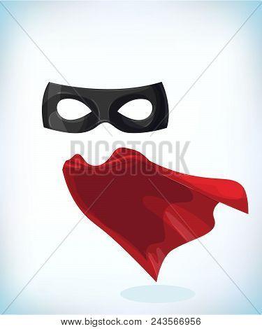 Zorro Mask. Masquerade Costume Headdress. Carnival Or Halloween Mask. Cartoon Vector Illustration. F