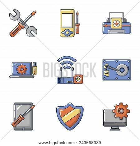 Electronic Repair Icons Set. Cartoon Set Of 9 Electronic Repair Vector Icons For Web Isolated On Whi