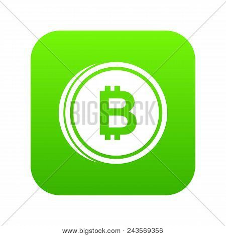 Coin Bat Icon Digital Green For Any Design Isolated On White Vector Illustration