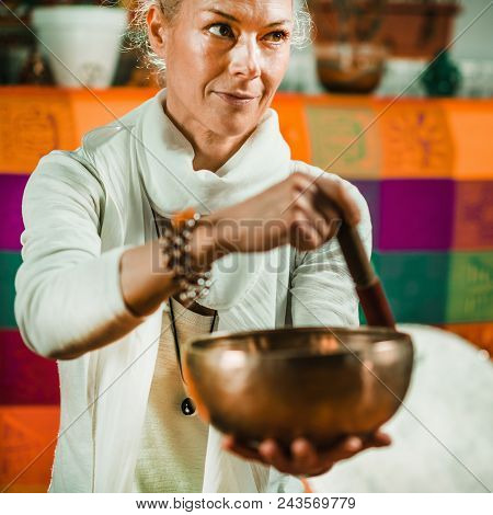 Tibetan singing bowl in sound therapy, square toned mage poster