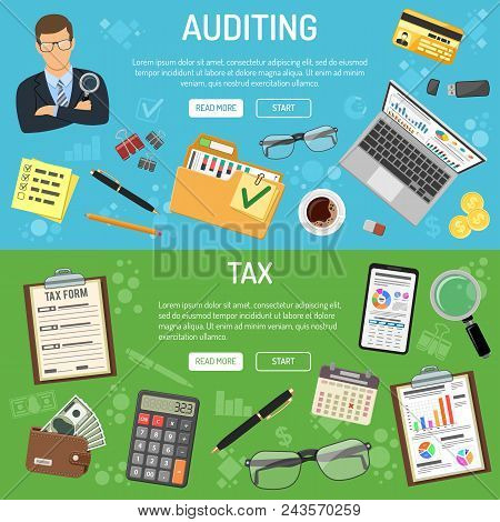 Auditing, Tax, Business Accounting Banners With Flat Style Icons Auditor, Folder, Laptop, Charts And
