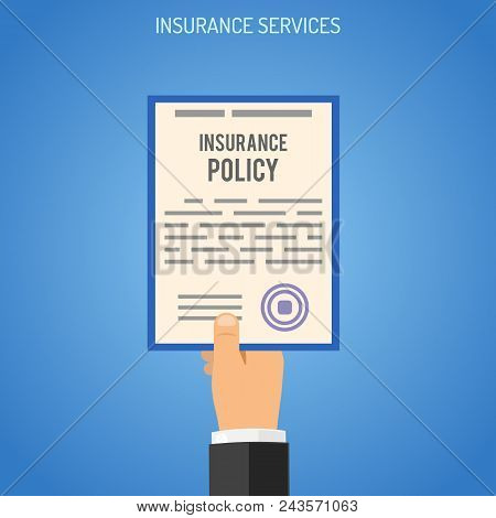 Insurance Services Concept With Flat Icons For Poster, Web Site, Advertising Like Hand With Insuranc
