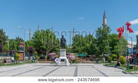 Republic Square And Ataturk Monument In Edirne , Turkey.