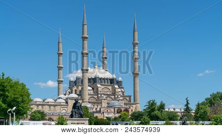 Selimiye Mosque And Statue Of Its Architect Mimar Sinan, Edirne, Turkey