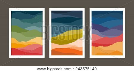 Set Of Vertical Backgrounds Or Card Templates With Abstract Waves Or Hills Of Warm Vivid Colors. Bun