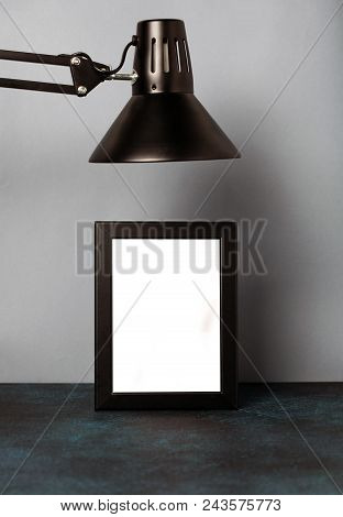 Mock Up Picture With Frame And Black Lamp In Loft Style. Close Up.