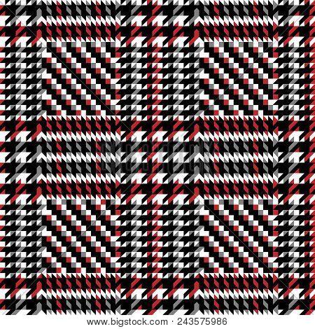 Check Fashion Tweed White, Gray, Red And Black Seamless Pattern For Fashion Textile Prints, Wallpape