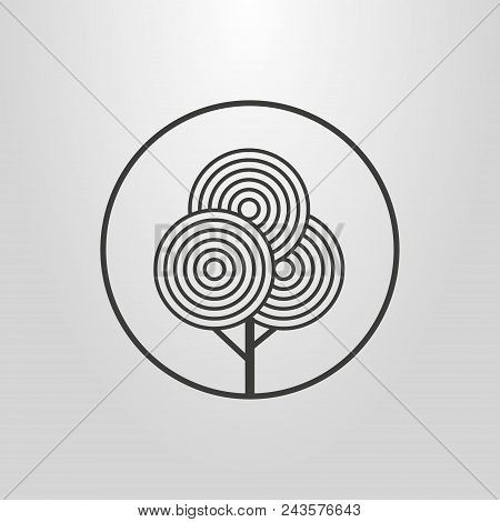 Black And White Line Art Abstract Geometric Pictogram Of Tree In A Round Frame