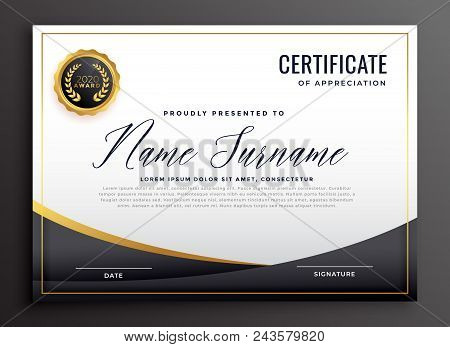 Black Certificate Of Appreciation Template Vector Illustration