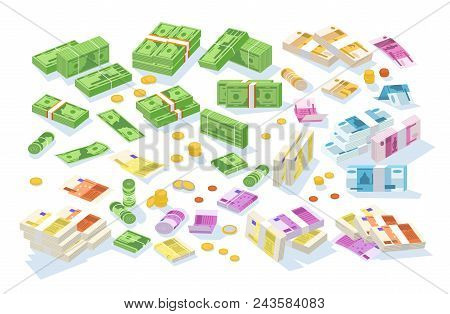 Collection Of Isometric Cash Money. Set Of Various Currencies - Dollar, Euro, Ruble Bills Or Banknot