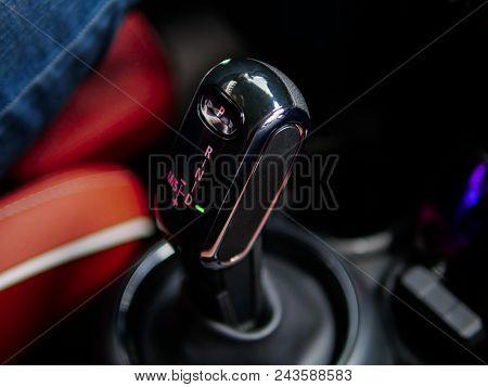 Black Selector Selector. Gear Shifter. Luxuty Interior
