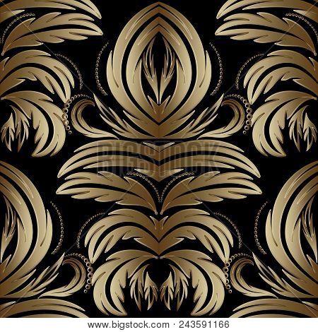 Baroque Seamless Pattern. Black Vector Background Wallpaper Illustration With Vintage Gold 3d Flower