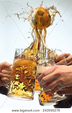 Collage About Beer Cup. The Many Male Hands With Mugs Of Beer Toasting Isolated On Studio White Back