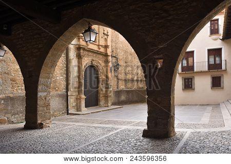 Square Of La Iglesia And Church, La Iglesuela Del Cid, Mestrazgo, Teruel Province, Aragon, Spain