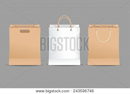 Realistic Detailed 3d Paper Bag Set Blank Empty Template For Shop On A Grey Blank Empty Template. Ve