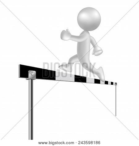 Vector Drawn People Symbol, Hurdle Movement,image Uses A Grid Gradient.