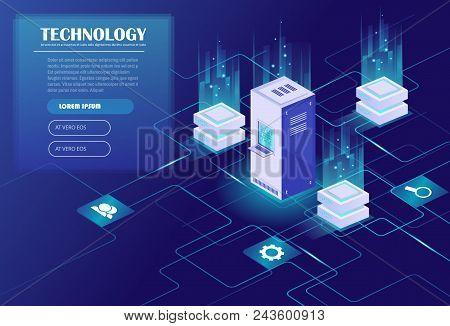 Web Hosting And Big Data Processing, Server Room Rack. Data Center, Cloud Storage Technology. Energy