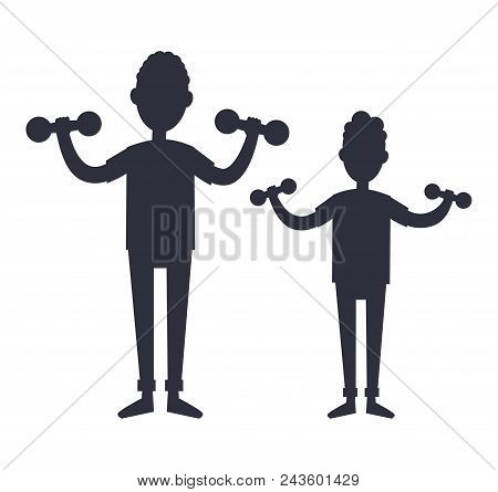 Father And Son Training With Dumbbells Black Silhouettes Vector Isolated On White. Dad And Boy Go In