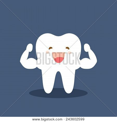 Single White And Very Strong Muscle Healthy Tooth. Strong Happy Healthy White Tooth Character. Vecto