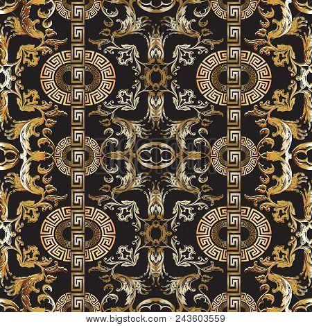 Baroque Seamless Pattern. Vector Damask Background. Baroque Wallpaper Design. Vintage Gold Silver 3d