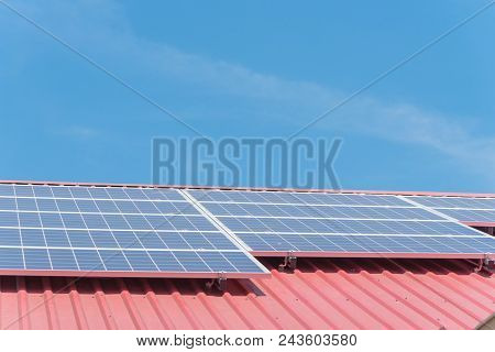 Solar Panels On Steel Roof Floor Of Commercial Building In Texas, Usa