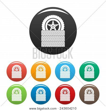 Tire Leap Icon. Simple Illustration Of Tire Leap Vector Icons Set Color Isolated On White
