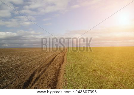 Arable Land. Landscape Of Plowed Land And Green Grass In A Cloudy Day.