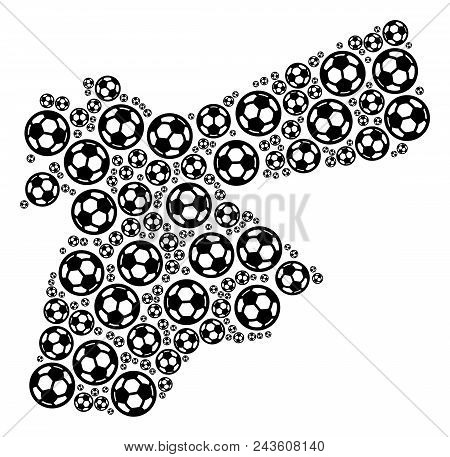 Football Jordan Map. Vector Territorial Scheme Composed From Soccer Spheres In Variable Sizes. Abstr