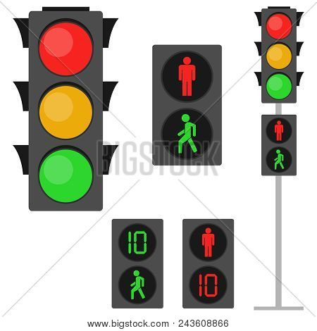 Traffic Lights, Traffic Lights For Pedestrians. Pedestrian Traffic Light. Flat Design, Vector Illust