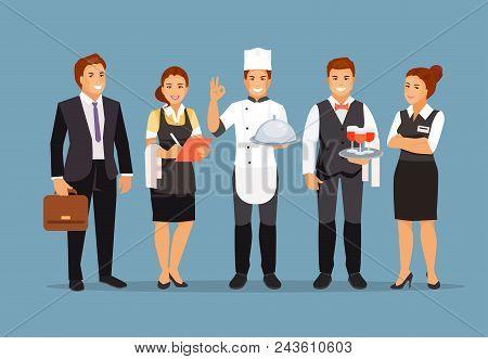 Restaurant Staff Team. Director, Chef, Waiter Manager Sommelier Vector Illustration