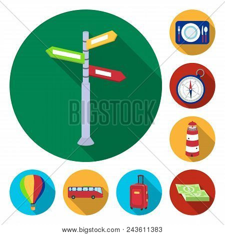 Rest And Travel Flat Icons In Set Collection For Design. Transport, Tourism Vector Symbol Stock  Ill