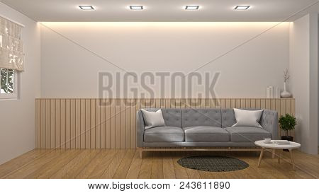Interior Room,sofa Books On The Desk In Living Room Interior Background,empty Wall And Ornamental In