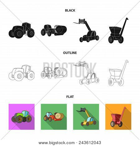 Tractor, Hay Balancer And Other Agricultural Devices. Agricultural Machinery Set Collection Icons In