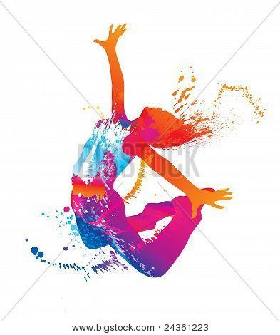 La bailarina con manchas coloridas y salpicaduras sobre fondo blanco. Ilustración del vector.