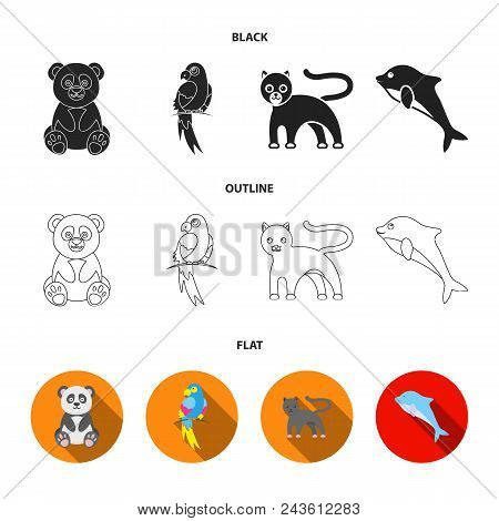Panda.popugay, Panther, Dolphin.animal Set Collection Icons In Black, Flat, Outline Style Vector Sym