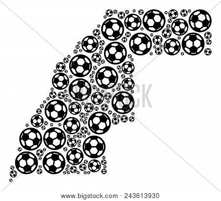 Football Western Sahara Map. Vector Territory Plan Composed From Football Spheres In Variable Sizes.