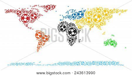 Football World Continent Map. Vector Territory Scheme Made From Soccer Balls In Variable Sizes. Abst