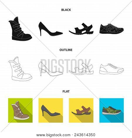 A Set Of Icons On A Variety Of Shoes.different Shoes Single Icon In Black, Flat, Outline Style Vecto