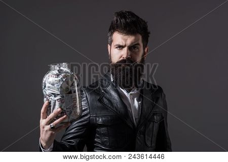 Business Man. Bearded Man Holds Jar With Banknote. Finance. Business Concept. Banknotes. Saving Mone